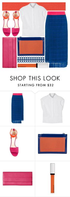 """""""all your brightness"""" by foundlostme ❤ liked on Polyvore featuring House of Holland, Maison Margiela, Nicholas Kirkwood, Vivienne Westwood, ECCO, Givenchy, colorblock, whiteshirt, midiskirt and summerbrights"""