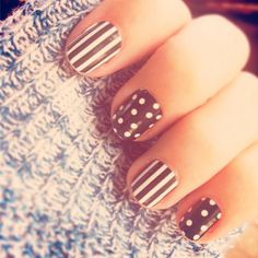Lauren Conrad with spots and stripes nail art