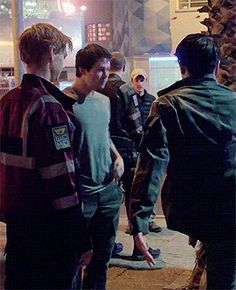 """""""Thomas Brodie-Sangster, Dylan O'Brien, and Ki Hong Lee on the set of Maze Runner: The Death Cure """""""