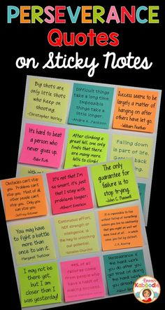STICK IT AND MAKE IT STICK! Are you looking for unique ways to boost your student's motivation and self-esteem? These encouraging perseverance quotes sticky notes can be used as part of your growth mindset activities or your regular classroom routine as a way to share positive messages for students.