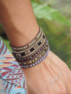 5 times Wrap Bracelet Purple Crystal beaded mix by G2Fdesign