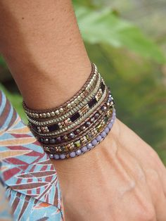 5 times Wrap Bracelet Purple Crystal beaded mix by G2Fdesign
