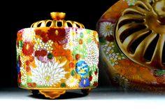 Antique Kutani-ware Incense Burner - Antique Kutani-yaki -  Japanese Pottery - For gift by JapaVintage on Etsy