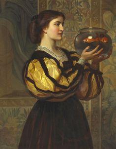 'The goldfish bowl' attributed to Charles Edward Perugini