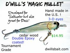 D'Will's 'Magic Mullet' is intended to go after Redfish, Spanish Mackerel, Bluefish, Tarpon and many other fish species which lover finger mullet in their diet! The lure comes in deep dive, shallow di Fishing Photos, Fishing 101, Fishing Life, Sea Fishing, Fishing Humor, Saltwater Fishing, Bass Fishing, Fishing Boats, Spanish Mackerel
