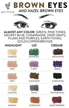 Make up colors for Brown Eyes. Younique Mineral Pigments can be used wet for more intensity or dry for a more subtle color. Add to clear nail polish to create a custom color. Add to lip gloss to create your own lippies! Use as hair chalk. 100% Natural, Gluten Free Eye Shadow. #LashGirlsRock