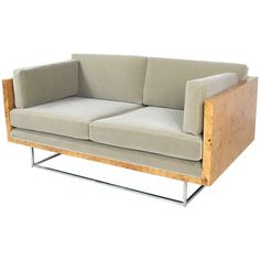 Milo Baughman Burled Wood Case Sofa Settee | From a unique collection of antique and modern sofas at http://www.1stdibs.com/furniture/seating/sofas/