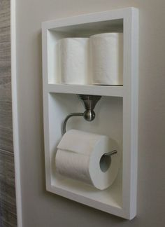 Between the studs, create a recessed area for your toilet paper with this bathroom remodel tutorial. More Remodeled Bathroom Ideas | Inspiring Makeovers on a Budget on Frugal Coupon Living. Master Bathroom Remodel Ideas, Small Bathroom Plans, Bathroom Niche, Bathrooms On A Budget, Bathroom Ideas On A Budget Diy, Bath Ideas, Master Bathrooms, Bathroom With Closet, Simple Bathroom Makeover