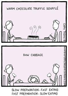 Slow and Raw Food Cartoon