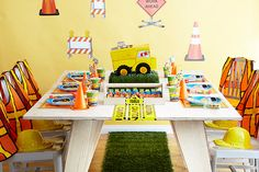 Dump trucks, caution signs, and traffic cones are essential for a construction-themed birthday party. Under Construction Theme, Construction Party Supplies, Construction Birthday Parties, Birthday Table, 3rd Birthday, Birthday Party Themes, Birthday Ideas, Super Party, Big Party