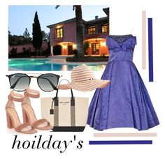 """""""sun"""" by clarerizzo on Polyvore featuring MARBELLA, Ray-Ban, Yves Saint Laurent, Gianvito Rossi and Acorn"""