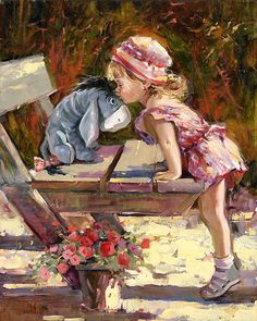 Winnie the Pooh - A Kiss for my Friend - Eeyore - Original - Irene Sheri - World-Wide-Art.com. This would be perfect for a little girls room