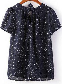 Navy Short Sleeve Stars Print Loose Blouse - Sheinside.com