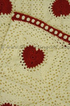 Centre Great Heart Square Crochet Blanket - free recipe