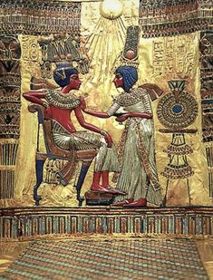 "Click through the large version for a full-screen view (on a black background in Firefox), set your computer for full-screen. ~ Relief on the back of Tutankhamun's throne ~ Miks' Pics ""Ancient Egypt"" board @ http://www.pinterest.com/msmgish/ancient-egypt/"