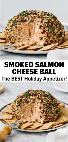 This smoked salmon cheese ball recipe is always a party favorite. Its a simple mix of smoked salmon cream cheese sour cream red onion and lemon pepper then rolled in chopped pecans and herbs. Its soft creamy savory smokey and highly addictive! Cheese Ball Recipes, Appetizer Recipes, Fun Appetizers, Salmon Ball Recipe, Smoked Salmon Cream Cheese, Best Holiday Appetizers, Cream Cheese Ball, Photo Food, Cooking Recipes