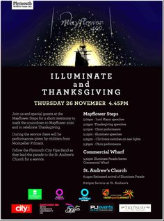 "Poster from Mayflower400UK.com. Read more on the GenealogyBank blog: ""Light a Candle for Thanksgiving"" https://blog.genealogybank.com/light-a-candle-for-thanksgiving.html"