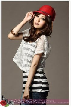 Casual Stripes Tanks  Short Sleeve Hollow Out T-shirt for Women on BuyTrends.com, only price $13.67