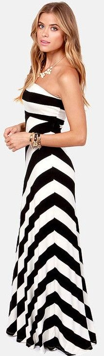 Black and white chevron dress
