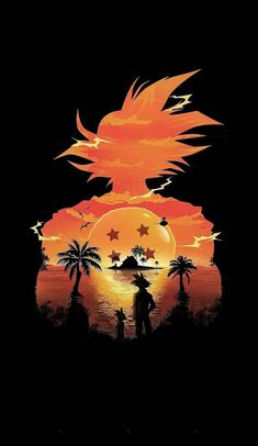 Dragonball Z Goku silhouette outlining the horizon with the 4 Star dragonball.