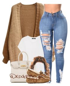 This snow is a dub🙄👊🏾, Winter Outfits, A fashion look from March 2017 by xbad-gyalx featuring Balmain, UGG Australia and Hermès. Swag Outfits For Girls, Cute Swag Outfits, Teenage Girl Outfits, Cute Comfy Outfits, Teen Fashion Outfits, Dope Outfits, Chill Outfits, Winter Swag Outfits, Swag Fashion