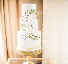 White rose and winding ivy wedding cake by Sweet Fix Cakes
