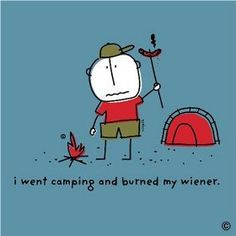I went camping and burned my wiener