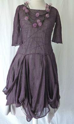 AMAZING ZUZA BART CREATION quirky 100% linen long dress size medium MULBERRY