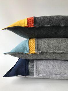 Crochet Patterns Pillow Wool pillow dark grey basis colour felt with wool crochet Wool Pillows, Throw Pillows, Felt Pillow, Patchwork Patterns, Crochet Patterns, Decorative Pillow Covers, Soft Furnishings, Custom Pillows, Pillow Design