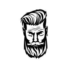 Buy stunning logo designs by the worlds best designers at BrandCrowd Beard Head, Beard Art, Beard Logo, Beard Tattoo, Beard Silhouette, Captain America Coloring Pages, Barber Logo, Cute Love Images, Dibujos Tattoo