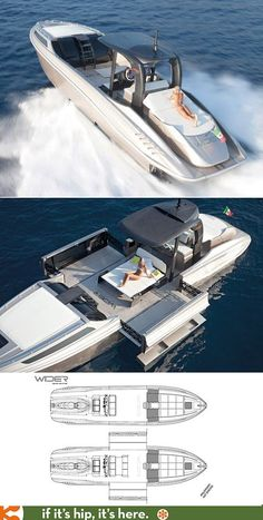 """The Wider 42"""" is a yacht that expands it's width in 12 seconds at the touch of a button."""