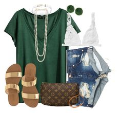 """""""green and gold, green and gold"""" by racheld24 ❤ liked on Polyvore featuring Panacea, H&M, J.Crew, One Teaspoon, Monki, Kenneth Jay Lane, LULUS and Louis Vuitton"""