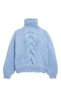 Blue wool cropped high neck cable knit sweater by I LOVE MR. MITTENS Now Available on Moda Operandi