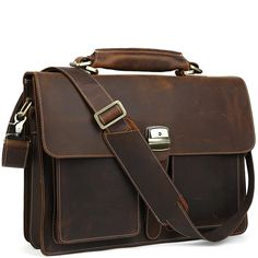 A classic lock and key leather briefcase that makes for a terrific business companion. Durable, sturdy, and structured to support all of your business work. Laptop Briefcase, Leather Briefcase, Briefcases, Types Of Bag, Classic Leather, Messenger Bag, Satchel, Key, Bags