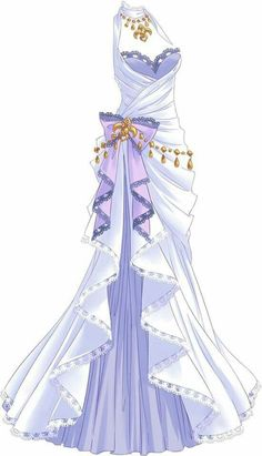 A blueish white dress with large bow on hip like flowing curtain. It tied around her neck with golden adornments.