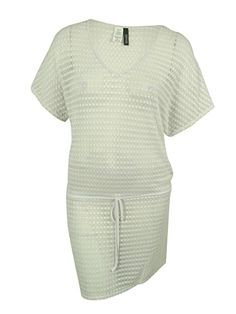 a10dc03913 Kenneth Cole REACTION Women's Lace Drawstring Swim Cover-Up (L, White) -