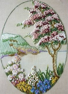Wonderful Ribbon Embroidery Flowers by Hand Ideas. Enchanting Ribbon Embroidery Flowers by Hand Ideas. Learn Embroidery, Embroidery Needles, Hand Embroidery Stitches, Silk Ribbon Embroidery, Hand Embroidery Designs, Vintage Embroidery, Embroidery Techniques, Cross Stitch Embroidery, Embroidery Supplies