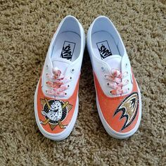 03fbe5a640 Anaheim Ducks Custom White Vans. Etsy