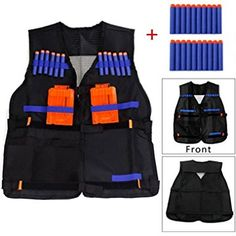 Yosoo Kids Elite Tactical Vest with 20 Pcs Soft Foam Darts for Nerf Gun N-strike Elite Series (Not Including 2 Clips)