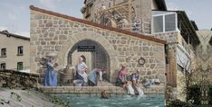 Live frescoes on facades by Patrick Commecy