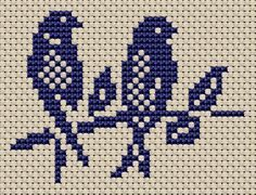 Free Sampler Patterns: two birds sitting in a tree Cross Stitch Bird, Cross Stitch Samplers, Cross Stitch Animals, Cross Stitch Flowers, Cross Stitch Charts, Cross Stitch Designs, Cross Stitching, Cross Stitch Embroidery, Embroidery Patterns