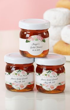 Filled with real Clover Honey these bridal shower favors are sure to satisfy any sweet tooth. Guests will love to take them home to remember your shower day at their next Sunday brunch! | Personalized Honey Jar - Bridal Brunch (Set of 12) | My Wedding Favors | #bridalshower #favors