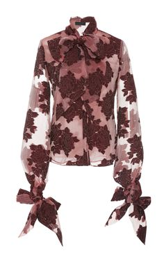 Co Velvet Embroidered Bow Shirt