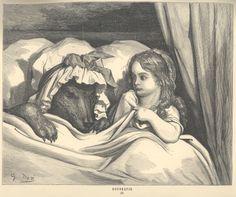 De sprookjes van Moeder de Gans / [naar het Fransch van Charles Perrault] op nieuw berijmd door Ant. L. de Rop ; geïll. door Gustave Doré. - Leiden : Van Santen, [1876]. Signatuur 1087 A 50.  Met de bijzondere gravure van Gustave Doré v