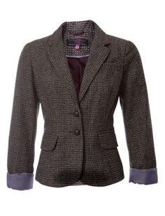 Chocolate (Brown) Brown Tweed Heritage Turn Up Blazer | 256918627 | New Look