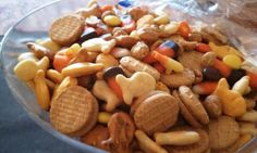 Fall Snack Mix-gold fish, pretzels, peanuts, m & m's, reese's pieces, candy corn & nutter butter cookies