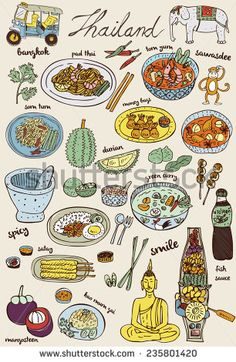 Doodles Thai food and icons set, vector