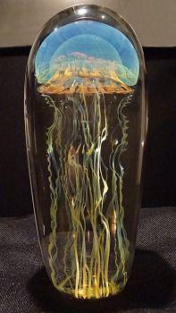 Blue Moon Glass Jellyfish Sculpture Satava