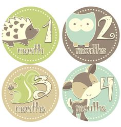 Monthly Onesie Stickers- Baby Boy - FREE NEWBORN SET - Cute Woodland Animals- Blue Beige Brown Green - Baby Month Stickers - Sheet no.402. $8.50, via Etsy.