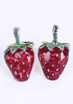Red+Glaze+Strawberries+Stud+Earrings+US$7.56